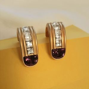 Givenchy Gold Half Hoop Earrings with Rhinestones